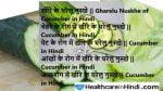 Cucumber in Hindi खीरा